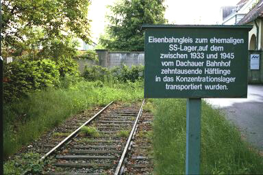 Railroad track where trains entered the SS camp, not the concentration camp