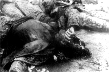 The body of a dead SS soldier who was sent to surrender the camp