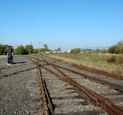 The train tracks where the Jews got off the trains before the tracks were extended inside the camp