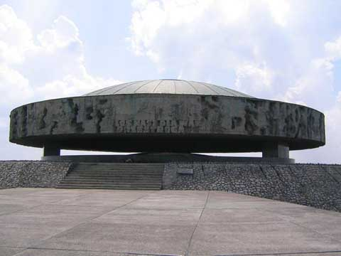 Ashes underneath a dome at the Majdanek Memorial site
