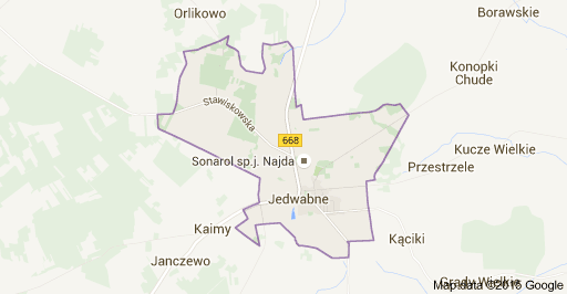Map shows location of Jedwabne