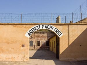 The gate into the Small Fortress, NOT the gate into the Theresienstadt camp