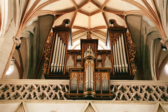 Choir loft and organ in Parish Church of St. Stephan in Braunau am Inn, Austria