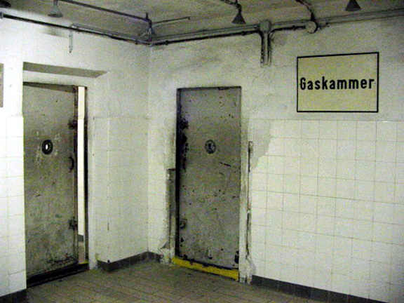 Mauthausen gas chamber had two doors into the room