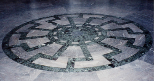 My 2008 phto of the Black Sun emblem on the floor of the Genarals hall.