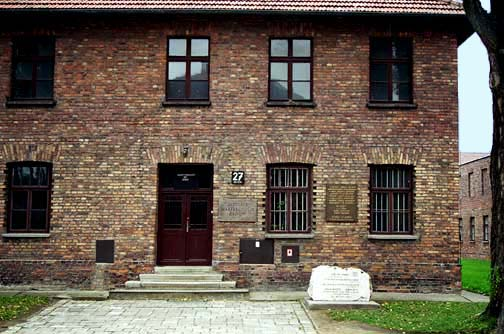 Block 27 at Auschwitz has a display of children's art