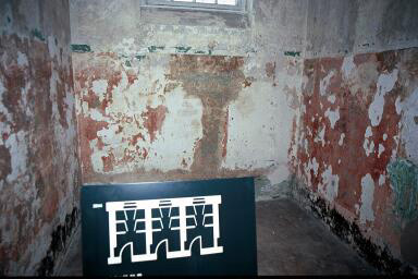 My photo of the prison cell at Dachau which was allegedly made into standing cells