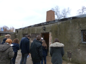"Students entering the ""gas chamber"" in the main Auschwitz camp"