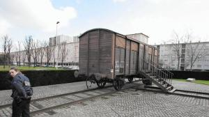 A railway car, shown in 2005, in the Paris suburb of Drancy commemorates the deportation of 76,000 Jews and others from France to Nazi concentration camps during World War II. (Jack Guez / AFP/Getty Images)