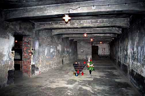Entrance to the Auschwitz gas chamber is through the oven room on the left