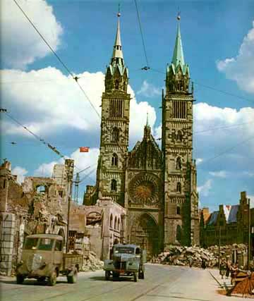 Another bombed church in Nuremberg where war crimes trials were held
