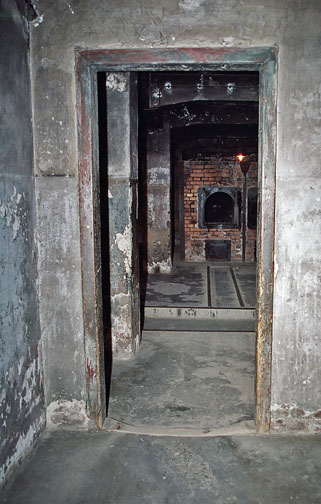 My photo of the view of the ovens at Auschwitz
