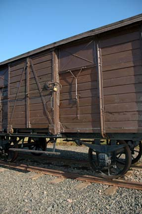 My 2005 photo of the door into a boxcar on display at Auschwitz