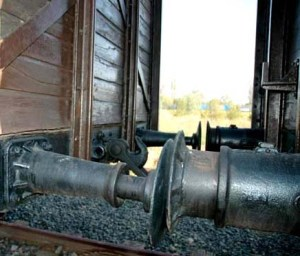 Train cars going to Auschwitz were coupled together like this