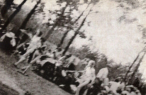 Photo taken by Sonderkommando Jews shows prisoners being herded toward a gas chamber