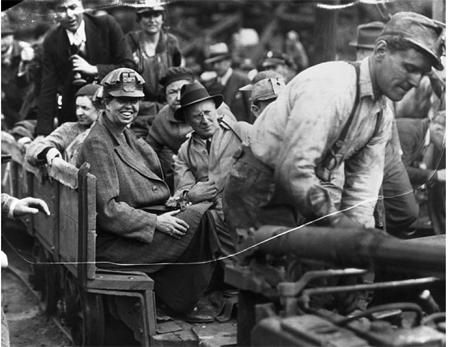Eleanor Roosevelt on her way to a coal mine