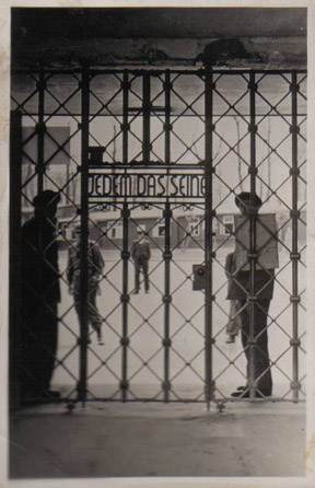 "Sign on Buchenwald gate says ""Jedem das Siene"""