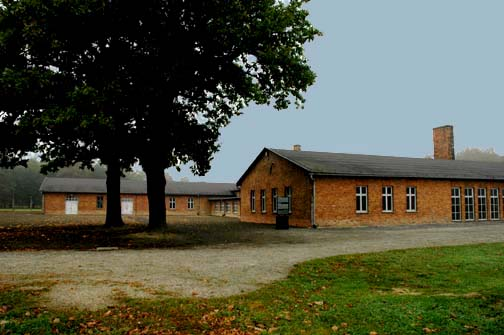 My photo of the building that was called the Sauna at Auschwitz-Birkenau
