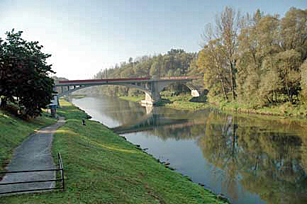 The Sola river that runs through the town of Auschwitz