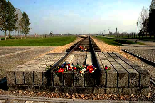 The end of the mile long train tracks at Aushwitz-Birkenau