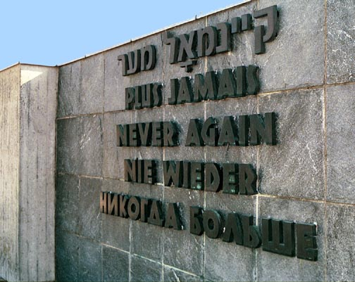 """Another monument at Dachau which has the slogan """"Never again"""" in 5 languages"""