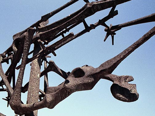 My photo of a detail of the Dachau sculpture designed by Nandor Glid
