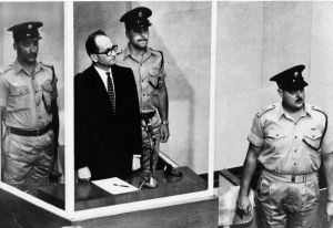 At his trial Eichmann was put into a cage with bullet proof glass