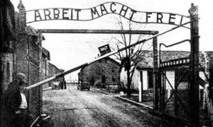 Famous slogan of the Holocaust on the gate into Auschwitz