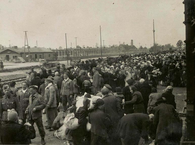 Jews arriving at Auschwitz-Birkeanu