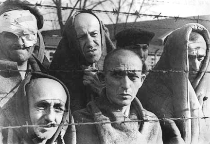 Prisoners in the Auschwitz main camp after they were liberated