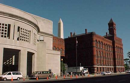 Exterior of Holocaust Museum with Washington Monument in the background