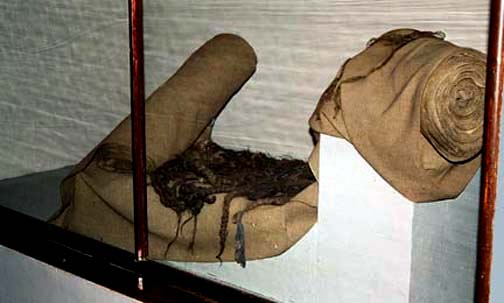 Cloth that was made from human hair is displayed at Auschwitz
