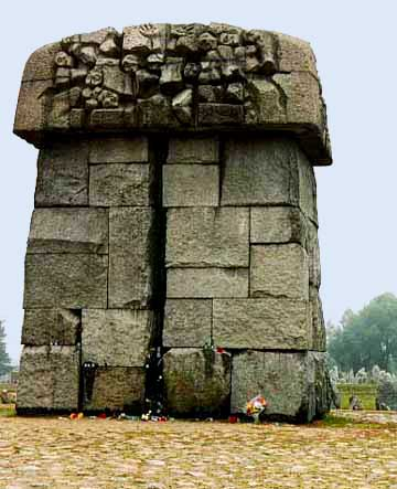 Stone monument on the site where gas chamber was allegedly located