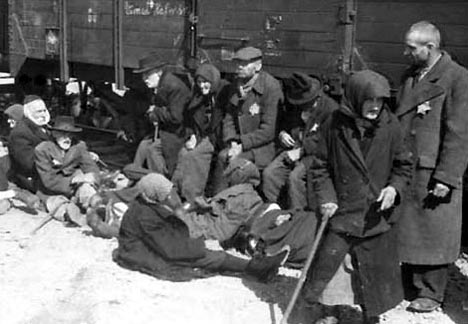 Elderly Hungarian Jews waiting to be taken to the gas chamber
