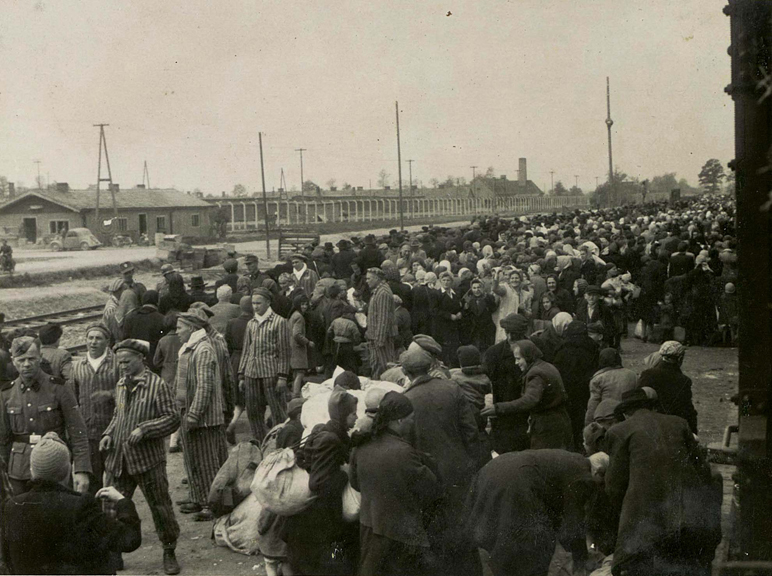 Jews getting off a train at Birkenau