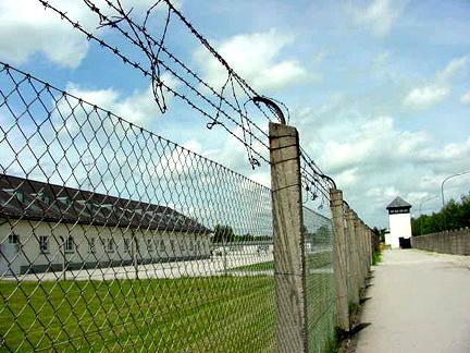 Fence around Dachau camp