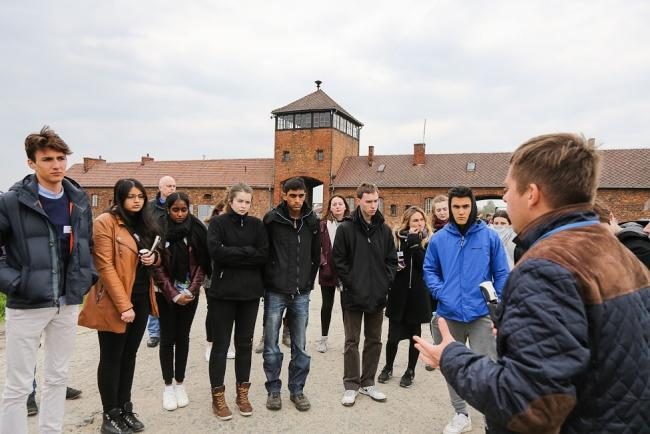 British students on HET tour at Birkenau