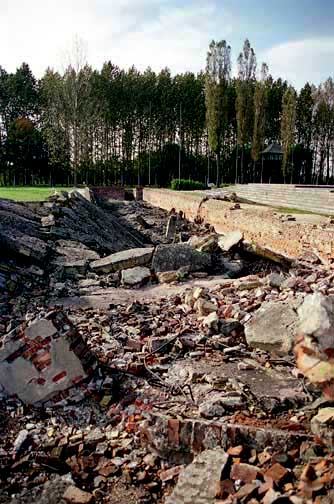 Ruins of the oven room at Birkenau with undressing room in the background