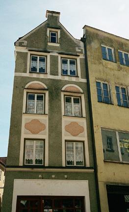A narrow house on the street where Hitler was born