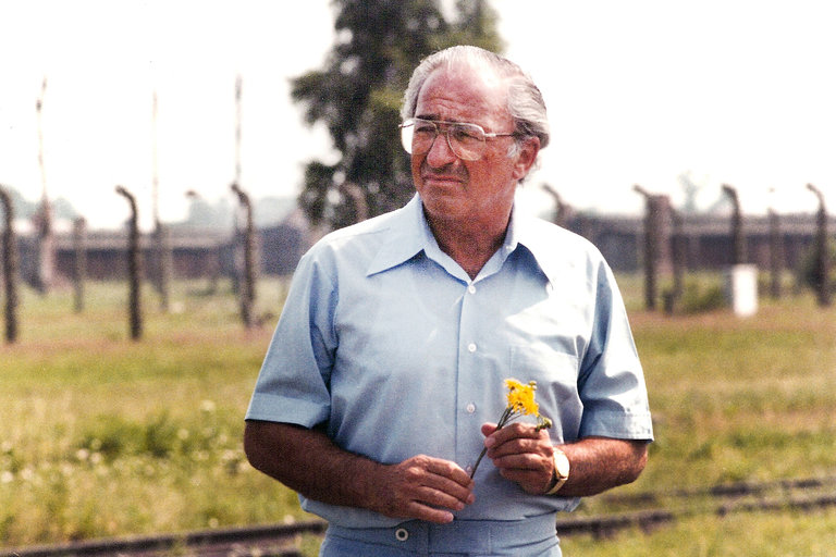 Ernest Michel on a trip to Auschwitz