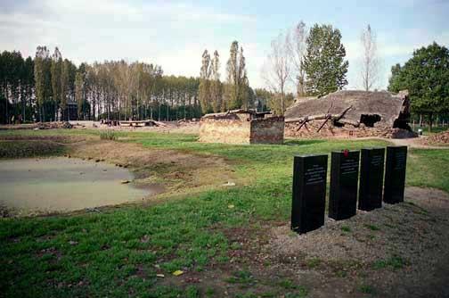 Black markers at Birkenau ash pond