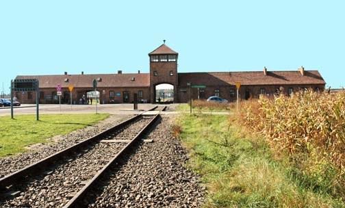 train tracks going into the Auschwitz-Birkeanu camp