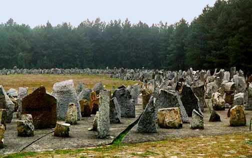 My 1998 photo of the memorial stones at Treblinka