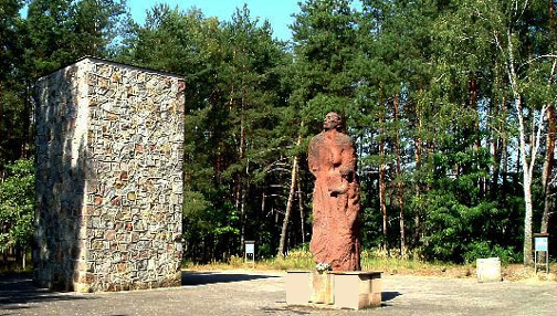Monument at Sobibor shows location of gas chambers