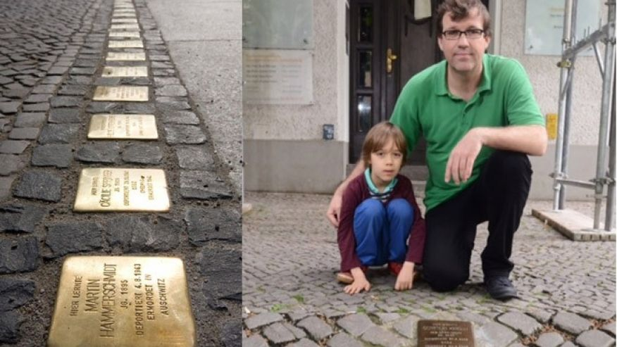 Stumbling stones on a city street in Germany