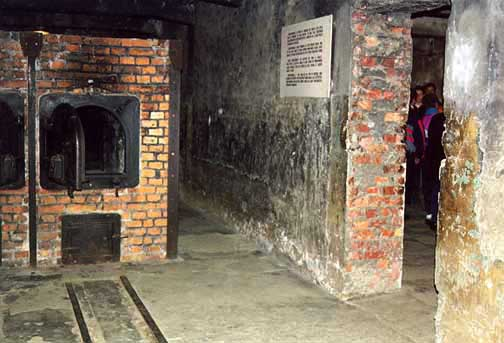 Door into the Auschwitsz gas chamber is on the right