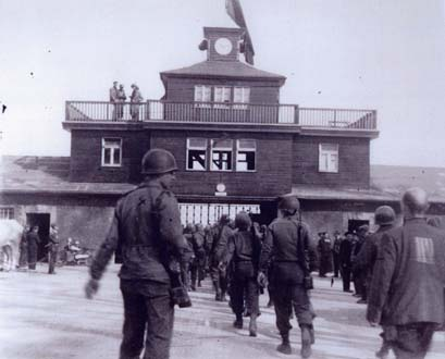 American soldiers entering Buchenwald on the day that the camp was liberated