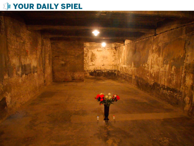 Reconsructed gas chamber room on display