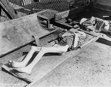 A corpse on display at Dachau after the camp was liberated