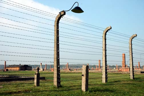 My 2005 photo of the Fence around the Birkenau camp